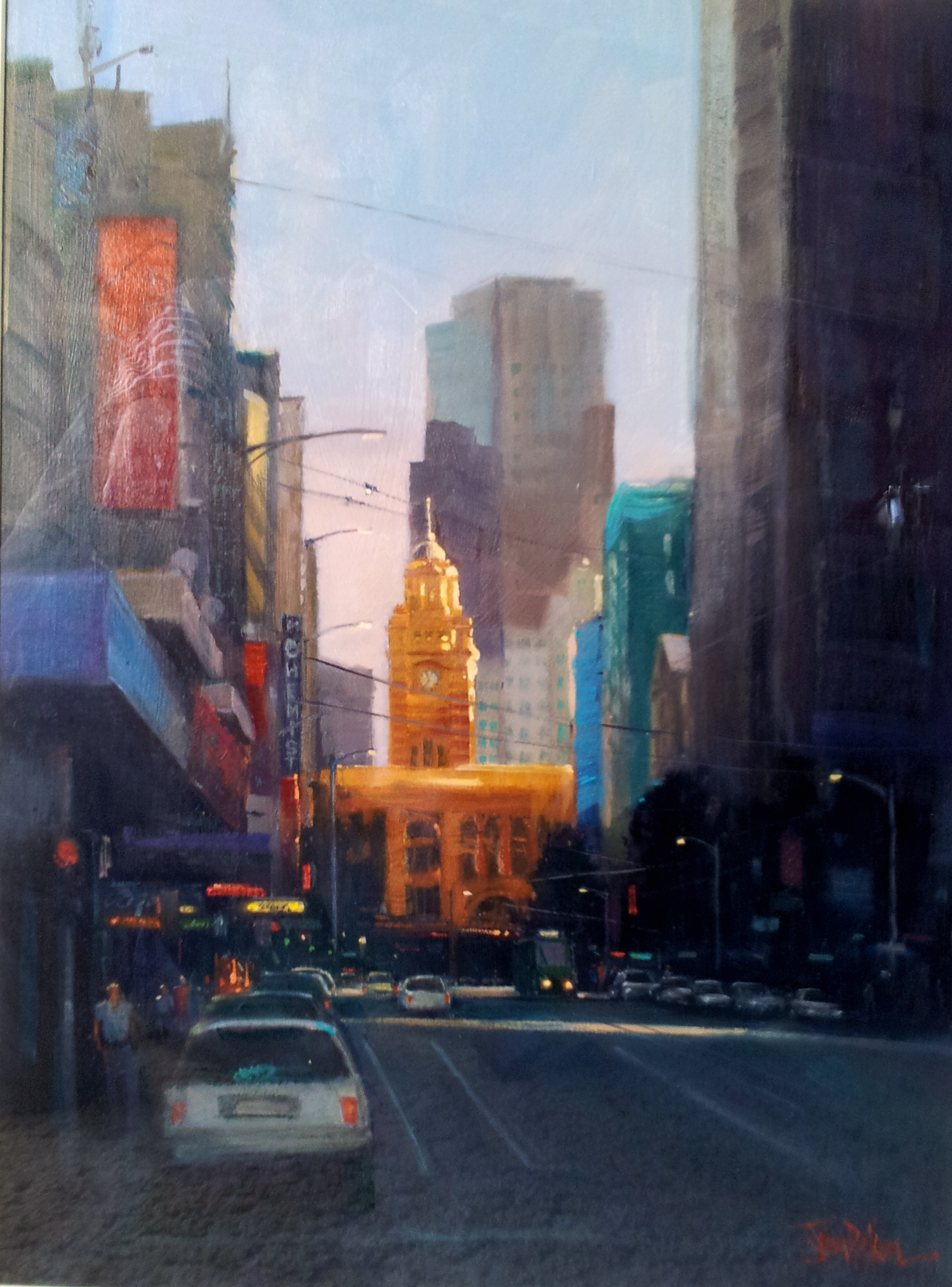 "Image of artwork: Painting ""Last Light, Flinders Street Clock Tower"" by John Perkins"